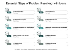 Essential Steps Of Problem Resolving With Icons Ppt Powerpoint Presentation Gallery Example