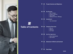 Essential Terms And Conditions For A Business Table Of Contents Ppt PowerPoint Presentation Styles Examples PDF
