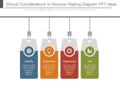 Ethical Considerations In Decision Making Diagram Ppt Ideas