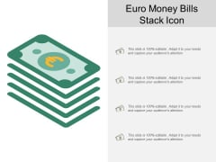 Euro Money Bills Stack Icon Ppt Powerpoint Presentation Layouts Icon
