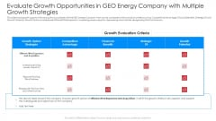 Evaluate Growth Opportunities In Geo Energy Company With Multiple Growth Strategies Infographics PDF