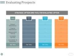 Evaluating Prospects Ppt PowerPoint Presentation Infographic Template Format