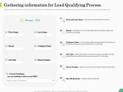 Evaluating Rank Prospects Gathering Information For Lead Qualifying Process Ppt Icon Influencers PDF