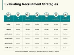 Evaluating Recruitment Strategies Ppt PowerPoint Presentation Outline Shapes