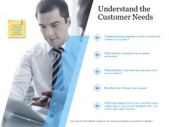 Evaluating Target Market Segments Understand The Customer Needs Ppt Inspiration Visuals PDF