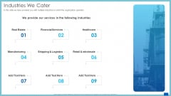 Evaluation Evolving Advanced Enterprise Development Marketing Tactics Industries We Cater Pictures PDF