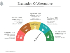 Evaluation Of Alternative Ppt PowerPoint Presentation Visual Aids