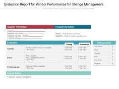 Evaluation Report For Vendor Performance For Change Management Ppt PowerPoint Presentation Infographics Gallery PDF