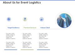 Event Management Services About Us For Event Logistics Ppt PowerPoint Presentation Slides Introduction PDF