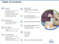 Event Management Services Table Of Contents Ppt PowerPoint Presentation Summary Graphic Tips PDF