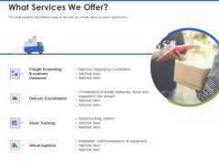 Event Management Services What Services We Offer Ppt PowerPoint Presentation Portfolio Professional PDF