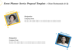 Event Planner Service Proposal Template Client Testimonials Communication Ppt Styles Graphics Pictures PDF
