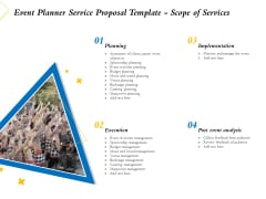 Event Planner Service Proposal Template Scope Of Services Ppt Inspiration Outfit PDF