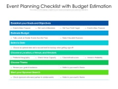 Event Planning Checklist With Budget Estimation Ppt PowerPoint Presentation Infographics Graphics Download PDF