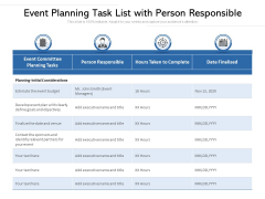 Event Planning Task List With Person Responsible Ppt PowerPoint Presentation Good PDF