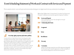 Event Scheduling Statement Of Work And Contract With Service And Payment Ppt PowerPoint Presentation Gallery Introduction PDF