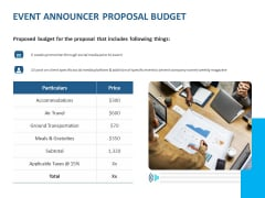 Event Time Announcer Event Announcer Proposal Budget Ppt File Slideshow PDF