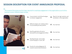 Event Time Announcer Session Description For Event Announcer Proposal Ppt File Maker PDF