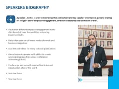 Event Time Announcer Speakers Biography Ppt Infographics Maker PDF