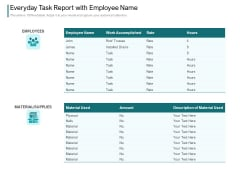 Everyday Task Report With Employee Name Ppt PowerPoint Presentation Slides Icon PDF