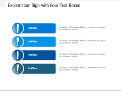 Exclamation Sign With Four Text Boxes Ppt PowerPoint Presentation File Examples PDF