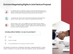 Exclusive Negotiating Rights In Joint Venture Proposal Ppt PowerPoint Presentation Styles Clipart Images