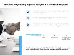 Exclusive Negotiating Rights In Mergers And Acquisition Proposal Ppt PowerPoint Presentation Inspiration Summary