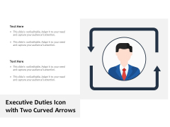 Executive Duties Icon With Two Curved Arrows Ppt PowerPoint Presentation File Objects PDF