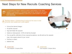 Executive Job Training Next Steps For New Recruits Coaching Services Demonstration PDF