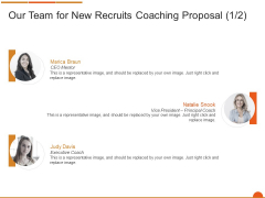 Executive Job Training Our Team For New Recruits Coaching Proposal Background PDF