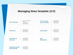 Executive Leadership Programs Managing Stress Template Plan Ppt PowerPoint Presentation Outline Demonstration