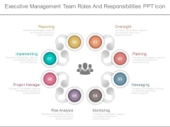 Executive Management Team Roles And Responsibilities Ppt Icon
