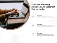 Executive Preparing Emergency Management Plan On Laptop Ppt PowerPoint Presentation Gallery Maker PDF