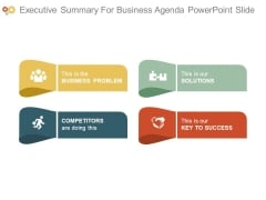 Executive Summary For Business Agenda Powerpoint Slide
