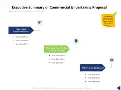 Executive Summary Of Commercial Undertaking Proposal Ppt Show Guide PDF