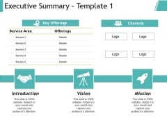 Executive Summary Template 1 Ppt PowerPoint Presentation Model Shapes