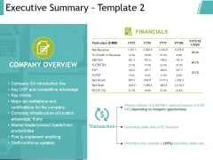 Executive Summary Template 2 Ppt PowerPoint Presentation Model Objects