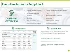 Executive Summary Template 2 Ppt PowerPoint Presentation Summary Ideas