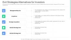 Exit Strategies Alternatives For Investors Ppt Model Background PDF