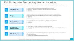 Exit Strategy For Secondary Market Investors Ppt Outline Graphics PDF
