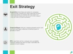 Exit Strategy Ppt PowerPoint Presentation Ideas Format Ideas