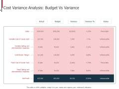 Expenditure Administration Cost Variance Analysis Budget Vs Variance Ppt Icon Professional PDF