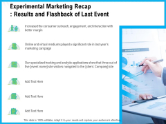 Experimental Marketing Recap Results And Flashback Of Last Event Ppt Infographics Tips PDF