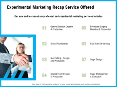 Experimental Marketing Recap Service Offered Ppt Infographic Template Influencers PDF