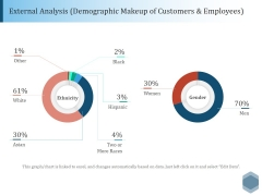 External Analysis Demographic Makeup Of Customers And Employees Ppt PowerPoint Presentation Outline Background Designs