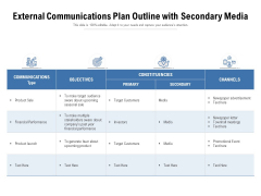 External Communications Plan Outline With Secondary Media Ppt PowerPoint Presentation Gallery Picture PDF