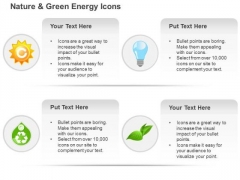 Ecology Gear Bulb Globe And Green Leaf And Recycle Symbols Ppt Slides Graphics