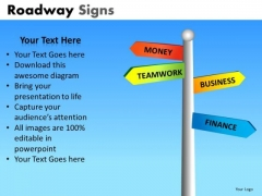 Editable Road Signs Ppt Slides For Business Presentations