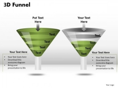 Editable Text 3d Funnel Diagrams PowerPoint Slides