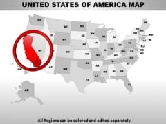 Editable Usa California State PowerPoint Maps